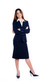 Asian indian business woman full length. With blue suit isolated on white Royalty Free Stock Images