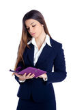 Asian indian business woman reading ebook tablet Stock Photography