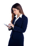 Asian indian business woman reading ebook tablet Stock Images