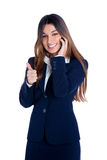 Asian indian business woman talking mobile phone. Happy smiling with blue suit on white Royalty Free Stock Photo