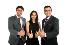 Asian Indian businessmen and businesswoman in group with thumbs up. On white. Successful Teamwork concept stock images