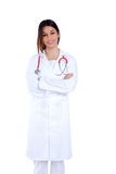 Asian indian confidence woman doctor smiling. Isolated on white Stock Images