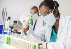 Asian Indian Female Laboratory Scientist Green Test Tube royalty free stock images