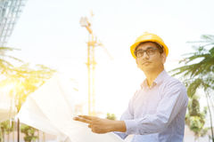 Asian Indian male contractor engineer inspecting at site Royalty Free Stock Photography