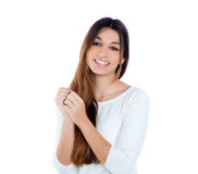 Asian indian shy brunette girl similing portrait Royalty Free Stock Photo