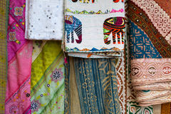 Asian Indian traditional fabric in different colors Stock Photography