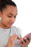 Asian Indian Woman Busy with her Mobile Phone Stock Photo