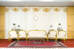 Asian indoor luxurious wedding decoration stage Royalty Free Stock Image