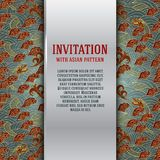 Asian invitation card with dragons and waves Royalty Free Stock Photography