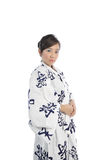 Asian Japanese Woman wearing Yukata looking stern stock image