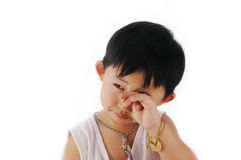 Asian kid. Cute young asian kid crying with white back ground Stock Images