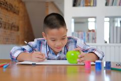 Asian kid boy child schoolboy drawing picture. children activity. Little asian kid boy child schoolboy drawing picture. children leisure activity at home royalty free stock image
