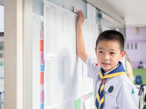 Asian kid find  the result announcement of exam. Primary school Royalty Free Stock Images