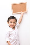 Asian kid and hand raise stop written Stock Photo