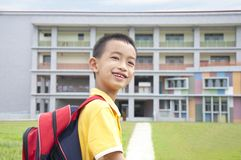 Asian kid happy to go to school. Asian boy elementary student going back to school Stock Photos