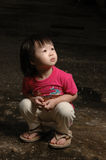 Asian Kid In Dark Royalty Free Stock Images