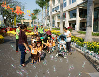 Asian kid, outdoor activity, Vietnamese preschool children Stock Photo
