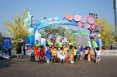Asian kid, outdoor activity, Vietnamese preschool children Royalty Free Stock Photo