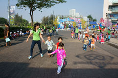Asian kid, outdoor activity, Vietnamese preschool children. HO CHI MINH CITY, VIET NAM- FEB12: Group of unidentified Asian kid with outdoor activity of preschool Stock Photography