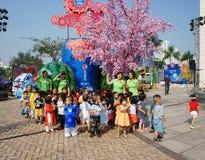 Asian kid, outdoor activity, Vietnamese preschool children Stock Images
