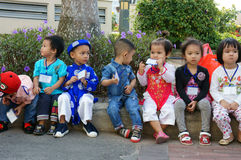 Asian kid, outdoor activity, Vietnamese preschool children Royalty Free Stock Photos