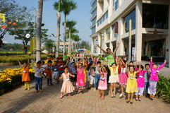 Asian kid, outdoor activity, Vietnamese preschool children. HO CHI MINH CITY, VIET NAM- FEB12: Group of unidentified Asian kid with outdoor activity of preschool Stock Photo