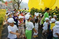 Asian kid, outdoor activity, Vietnamese preschool children Stock Photos