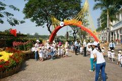 Asian kid, outdoor activity, Vietnamese preschool children Royalty Free Stock Images