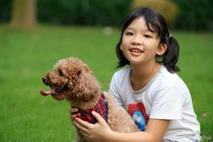 Asian kid playing with dog. Asian kid sitting and holding a poodle dog Royalty Free Stock Images