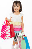 Asian Kid with shopping bag Stock Photo