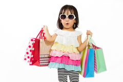 Asian Kid with shopping bag Stock Photography