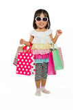 Asian Kid with shopping bag Royalty Free Stock Image