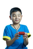 Asian kid smile receive Christmas gift. On white background Stock Image