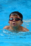 Asian kid swims in swimming pool - butterfly style take deep breath Stock Images