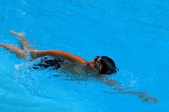 Asian kid swims in swimming pool - front crawl style with power scissor kick Stock Photography