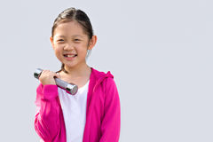 Asian Kid Wearing Sweater Holding Dumbbell, Isolated on White Stock Image