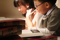 Asian kids. In school day stock photo
