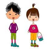 Asian kids. Colorful graphic illustration for children Royalty Free Stock Photo