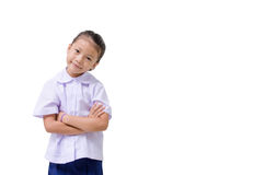 Asian kids cute girl in student's uniform on white background Royalty Free Stock Photos