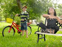 Asian kids playing in the park royalty free stock photo