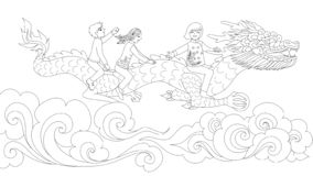Asian kids in traditional dress riding Chinese dragon holding the ball above the clouds for design element and coloring book page royalty free illustration