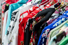 Asian kimono selection. A lot of kimono exposed in asian store Stock Image