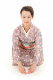 Asian kimono woman bow Royalty Free Stock Image