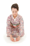 Asian kimono woman bow Royalty Free Stock Images