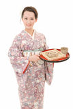 Asian kimono woman with Japanese buckwheat noodles Stock Photo