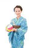 Asian kimono woman with paper balloon Royalty Free Stock Photos
