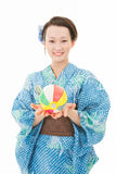 Asian kimono woman with paper balloon Stock Photography