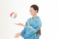 Asian kimono woman with paper balloon Stock Images