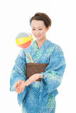 Asian kimono woman with paper balloon Stock Photo