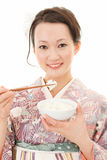 Asian kimono woman with rice Royalty Free Stock Photo